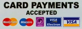 All major debit and credit cards are accepted.